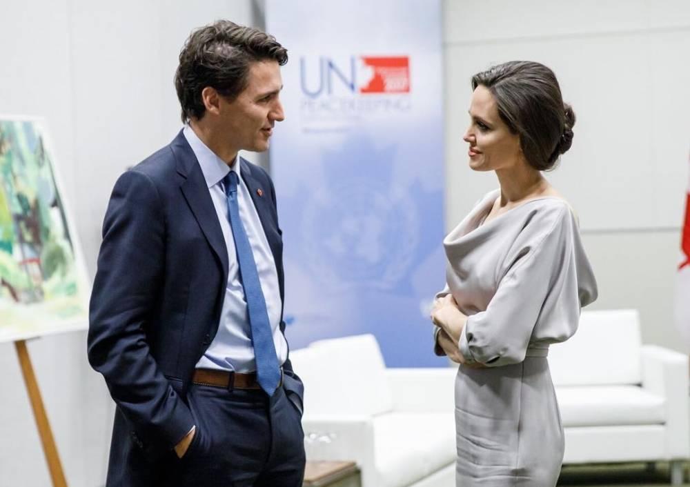 유엔 평화유지 정상회담에 참석한 졸리, 트뤼도와 환담