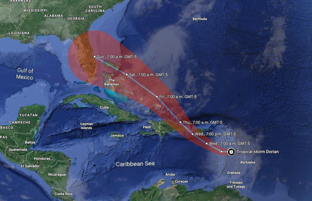 열대성 폭풍 '도리안' 카리브해서 세력 확장 중